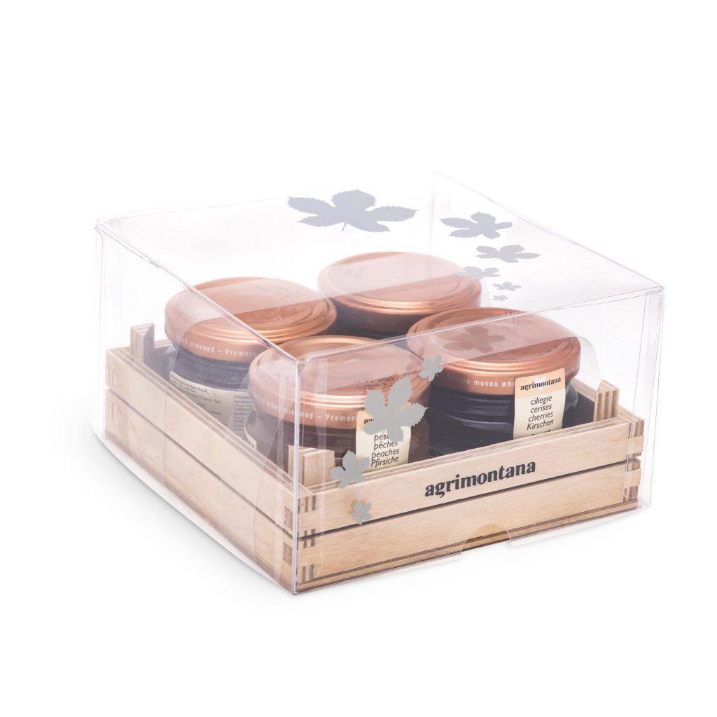 Cassetta in legno 3 confetture extra + 1 miele