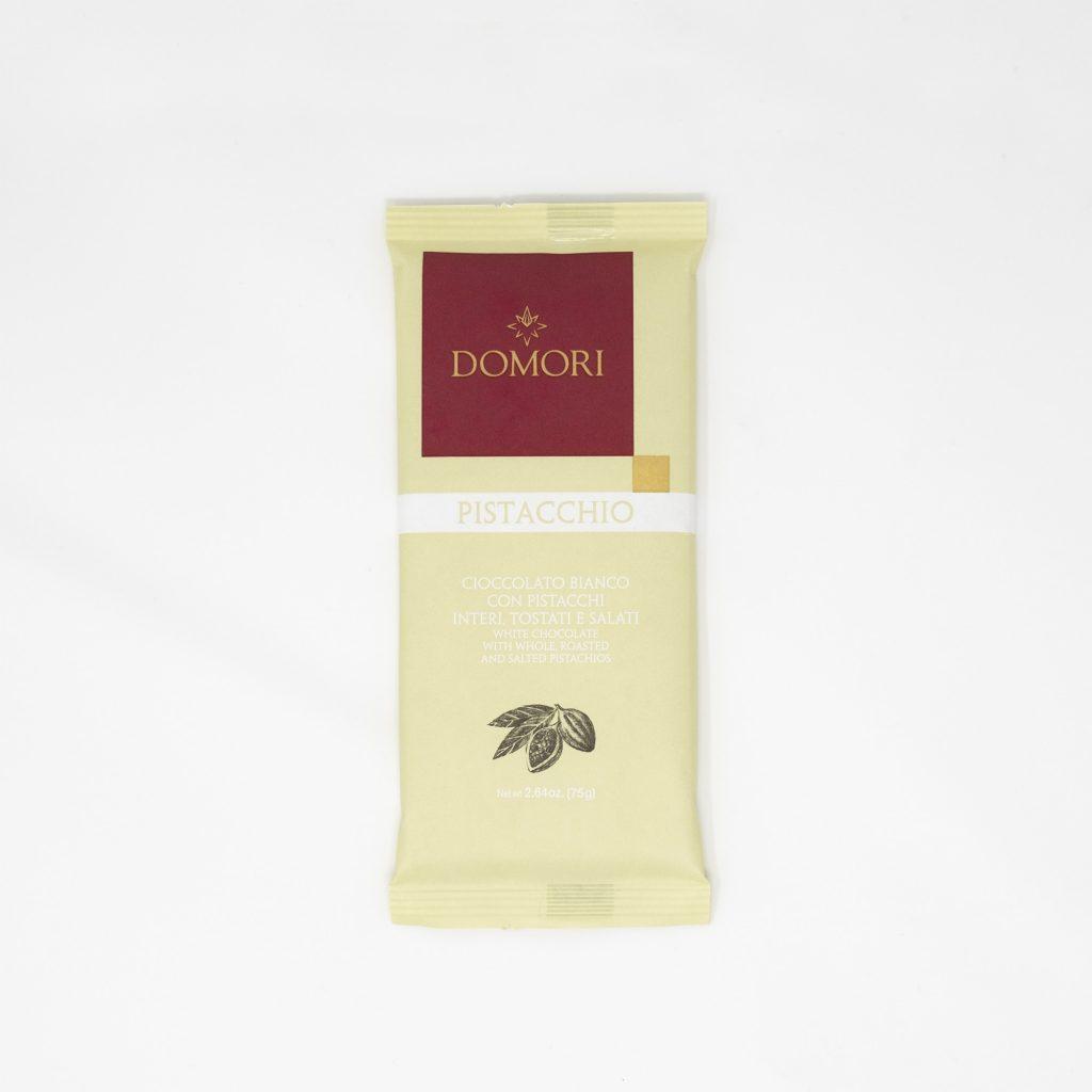 I 75g Domori - Cioccolato bianco con pistacchi interi tostati salati